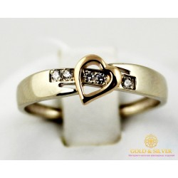 Золотое кольцо 585 проба. Кольцо женское Сердце с красного и белого золота с вставкой Бриллиант 14170