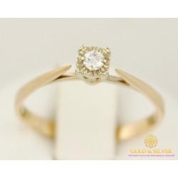 Золотое кольцо 585 проба. Женское Кольцо с красного золота с бриллиантом. 1,49 грамма. 15300