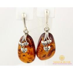 Серебряные Серьги 925 проба. Женские серебряные серьги Янтарные 003