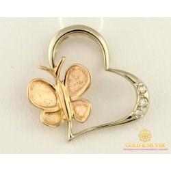 Золотой Кулон 585 проба. Подвес с красного золота и белого золота, Бабочка Сердце, с вставкой Бриллиант 34250