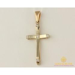 Золотой Крест 585 проба. Крестик с красного и белого золота, с вставкой Бриллиант 35710