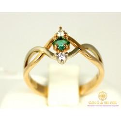 Золотое Кольцо 585 проба. Женское кольцо с красного и белого золота с вставкой Изумруд Бриллиант 10890