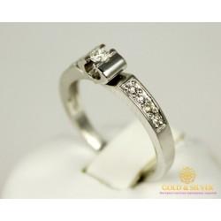 Золотое Кольцо 585 проба. Женское кольцо Замок с белого золота с вставкой бриллиант. 11273