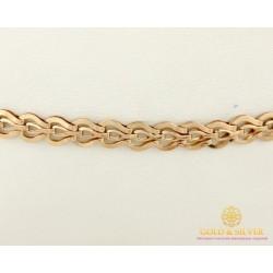 Золотой Браслет 585 проба. Женский браслет с красного золота, плетение Фараон 3,84 грамма 19 сантиметров 810072