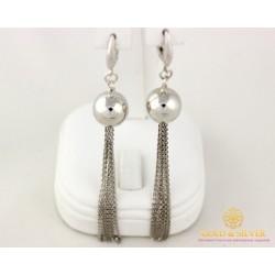 Серебряные Серьги 925 проба. Женские серьги шары с цепями. 470128с