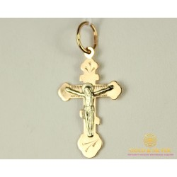 Золотой Крест 585 проба. Крестик детский с красного и белого золота. 230139