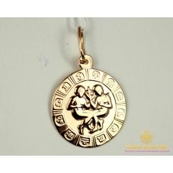 Золотой Кулон 585 проба. Кулон с красного золота, Знак Зодиака Близнецы pb202i