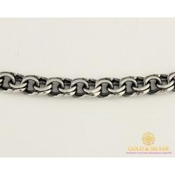 Серебряная Цепь 585 проба. Мужская серебряная цепь, плетение Бисмарк Плоский, 60 сантиметров 50522