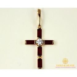 Золотой Крест 585 проба. Женский крест с вставкой камней Swarovski kp105i