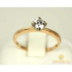 Золотое кольцо 585 проба. Женское Кольцо с красного золота с вставкой Swarovski Zirconia. 2,02 грамма. kv339(s)i