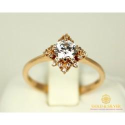 Золотое кольцо 585 проба. Женское Кольцо с красного золота с вставкой Swarovski Zirconia. 2,35 грамма. kv895(s)i