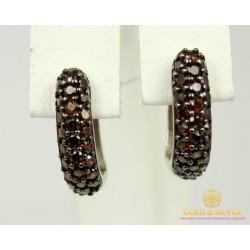 Серебряные Серьги 925 проба. Женские серебярные серьги Калинка с вставкой коричневый камень 20249р