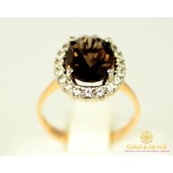 Золотое кольцо 585 проба. Женское золотое кольцо Дымчатый Кварц 11610