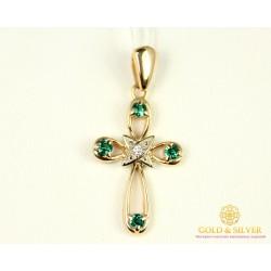 Золотой крест 585 проба. Крестик с красного золота, вставка Бриллиант Изумруд 30072
