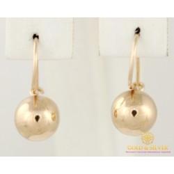 Золотые Серьги 585 проба. Женские серьги с красного золота, Без Вставок, Шары 470102