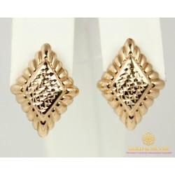 Золотые Серьги 585 проба. Женские серьги с красного золота, Без Вставок Ромб 470338
