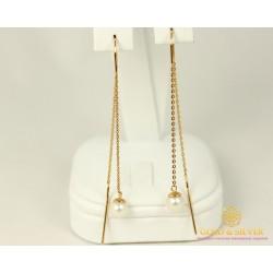 Золотые Серьги 585 проба. Женские серьги с красного золота Протяжки Жемчуг 580035