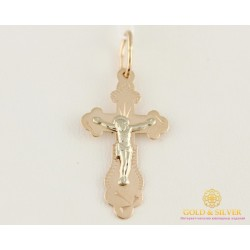 Золотой Крест 585 проба. Крестик с красного и белого золота. 230007 0,91 грамма