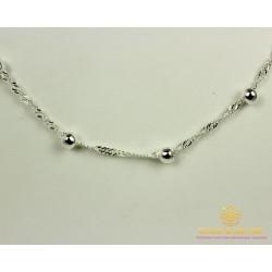 Серебряная Цепь 925 проба. Цепь серебряная плетение Сингапур Шарики 55 сантиметров 27035ш