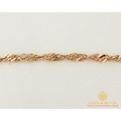 Золотой Браслет 585 проба. Женский браслет с красного золота, плетение Сингапур 50227205051(19)