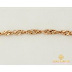 Золотой Браслет 585 проба. Женский браслет плетение Сингапур 50227203051(19)