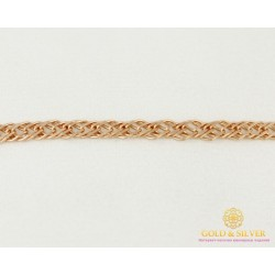 Золотой Браслет 585 проба. Браслет с красного золота, плетение Тройной Ромб 50233303041