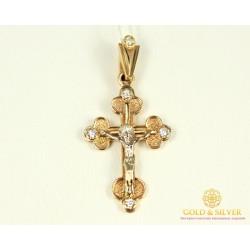Золотой крест 585 проба. Детский крестик с красного золота, с вставкой Бриллиант 30030