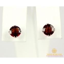 Золотые Серьги 585 проба. Женские серьги с белого золота, Гвоздики, с вставкой Гранат 22311