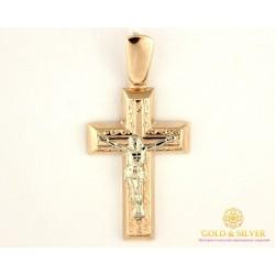Золотой Крест 585 проба. Крест Красное Белое Золото 222025