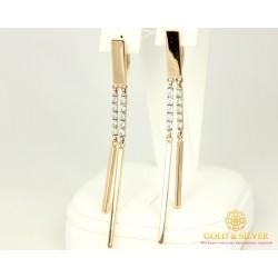 Золотые Серьги 585 проба.  Женские серьги с красного золота фианит 430111 7,13 грамма