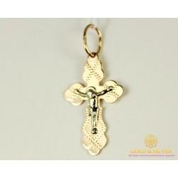 Золотой Крест 585 проба. Крест с Красного и Белого золота 1,04 грамма 230023