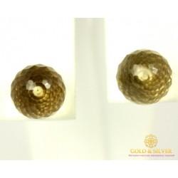 Золотые Серьги 585 проба. Женские серьги с красного золота,  Пуссеты (Гвоздики) Лимонный Кварц 588036