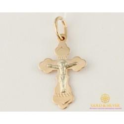 Золотой Крест 585 проба. Крест красное и белое золото 0,6 грамма 230103
