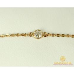 Золотой Браслет 585 проба. Женский браслет с красного золота, с камнями фианита 1,38 грамма 820116