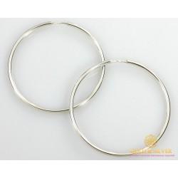 Серебряные серьги 925 проба. Серьги серебряные женские кольца (конго). Диаметр 60 мм. 2505