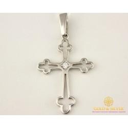 Золотой Крест 585 проба. Крест женский с белого золота, с вставкой бриллиант. 1,66 грамма 35839