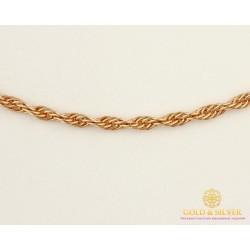 Золотая Цепь 585 проба. Цепочка с красного золота, плетение Корда 50 сантиметров, 4,25 грамма 501023030