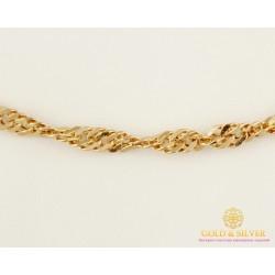Золотая Цепь 585 проба. Цепочка с красного золота, плетение Сингапур дутый 4,3 грамма 50 сантиметров 50127205051п