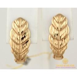 Золотые Серьги 585 проба. Женские серьги с красного золота Без вставок дубовые листики 1,63 грамма 470341