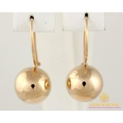 Золотые Серьги 585 проба. Женские серьги с красного золота, Шары без вставок 470103
