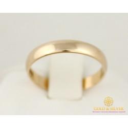 Золотое кольцо 585 проба. Обручальное Кольцо классическое с красного золота. 340003