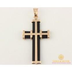 Золотой Крест 585 проба. Крест с красного золота, с каучуком 1,72 грамма 940010