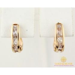Золотые серьги 585 проба. женские Серьги с красного золота, камни бесцветные 1,25 грамма 470362