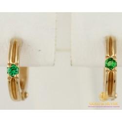 Золотые Серьги 585 проба. Детсике серьги с красного золота, с вставкой зеленые камни 2,41 грамма св0237и
