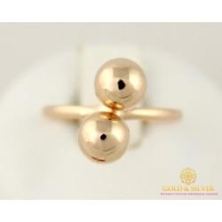 Золотое Кольцо 585 проба. Женское кольцо с красного золота Поцелуи Шарики 1,38 грамма 16,5 размер 391079