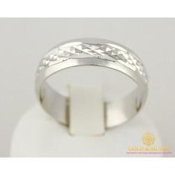 Серебряное кольцо 925 проба. Обручальное Кольцо с алмазной огранкой. 1701/1