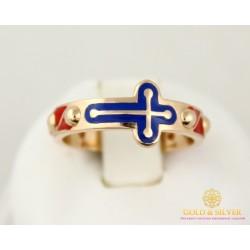 Золотое Кольцо 585 проба. Женское кольцо Вервочка с красного золота, красная и синяя эмаль 300336е