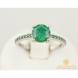 Серебряное кольцо 925 проба. Женское Кольцо Swarovski (Сваровски) Зеленый камень 1772gr