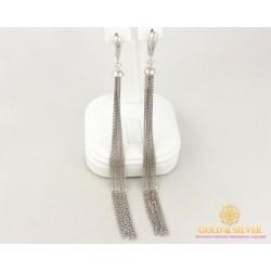 Серебряные Серьги 925 проба. Женские серьги Цепочки без вставок Шарики 6,7 грамма 480051с