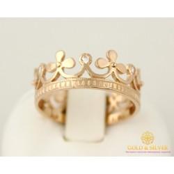 Золотое кольцо 585 проба. Женское кольцо Корона с красного золота, 2,87 грамма. кв966и
